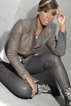 edgy. chic. grey. taupe. lovely makeup and nails. Pose