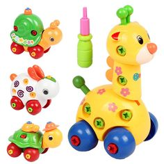 Animal Disassembly/Assembly Giraffe, Snail, Tortoise, and Rabbit Puzzles