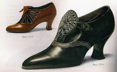 Women's Shoes Women's shoes in the early 1900's varied, but a fashionable style between 1897 and 1918 (the Ragtime Era) was a wider heel base and pointed toe, like this: