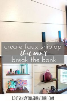 Looking for a unique accent wall that wont break the bank? Ive got an idea for you! This faux shiplap wall was easy inexpensive and really fun to do. Click through for the tutorial. Painting Moving Decor and Organization Accent Wall, Shiplap, Painting Furniture Diy, Faux Shiplap, Creative Home Decor, Diy Furniture Projects, Home Diy, Colorful Furniture, Decorating Your Home
