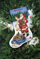 Checking His List Cross Stitch Christmas Stocking Kit