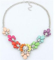 3 Colors Crystal Statement Bib Choker Necklace For Woman