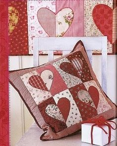 Heart pillow patchwork