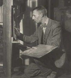 Maurice Brianchon dans son atelier