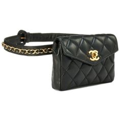 00e12dd3122ed Black Quilted Lambskin Belt Bag 30 ❤ liked on Polyvore featuring bags