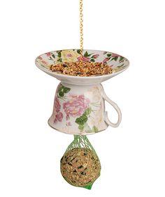 Look at this #zulilyfind! Light Pink Upside-Down Tea Cup & Saucer Bird Feeder #zulilyfinds