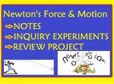 This is a bundle of 10 lessons on Newton's laws of Motion! Be sure to check out the wealth of activities included! *Newtons Laws of Motion interactive NOTES with demonstrations and activities* Force and Motion Stations-inquiry activities for Newton's 1st law/ Inertia* Newton's Third Law Station Science Inquiry Activities (12 stations)* Newtons Laws of Motion Review Project Poster* Newtons Laws of Motion Review Sheet* The Wild Ride- experience and understand inertia as you travel in a car…
