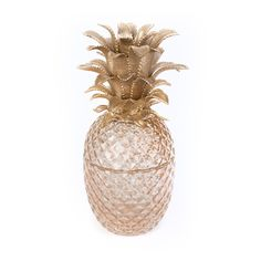 A whimsical golden and pearl toned pineapple shaped box embellished with a beautiful crystal detailing. Pineapple Ice Bucket, Jay Strongwater, Honeycomb, Glass Jars, Summer Fun, Carving, Jewels, Crystals, Enamels