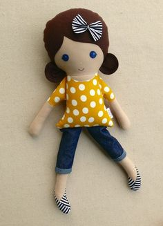 Fabric Doll Rag Doll Brown Haired Girl in Yellow by rovingovine: