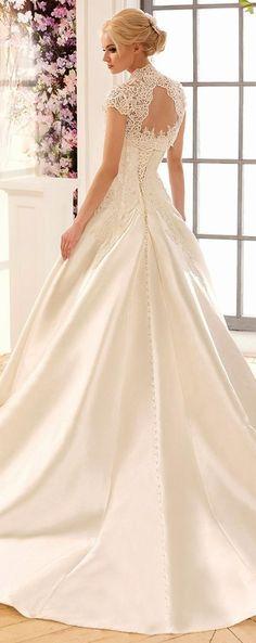 Best A-line Wedding Dresses : Marvelous Satin Strapless Neckline A-Line Wedding Dresses With Beaded Lace Appli
