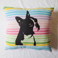 Boston Terrier pillow, Cyber Monday Etsy, colorful striped pillow, dog portrait, dog art, screen print, silkscreen. $22.00, via Etsy.
