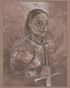 "Knight of the Dragon  Steven Russell Black  10""x14"" Nero and Prismacolor on toned paper Prelim sketch for a painting. Original drawing is up for sale on eBay starting bid 99 cents. http://ift.tt/25glNoG by stevenrussellblack"