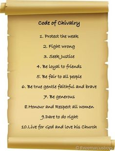 The Code of Chivalry was followed by all Knights, and was very important because it showed the follower how to become a model citizen, and protect those who couldn't protect themselves.