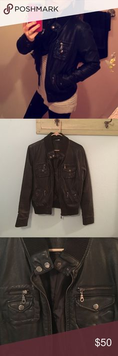 Motorcycle jacket Adorable jacket! Faux leather. Heavy, good quality. Excellent condition- the only issue is a small spot of peeling on back (shown in picture). Fully lined and has great pockets. Such a cool look. Bundle for more discounts  Allen B. Jackets & Coats