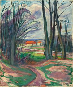 Edvard Munch (Löiten 1863 - 1944 Oslo, Norway) - Landscape in Skøyen, 1920-1928 Oil on canvas