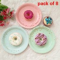 8pcs 7inch Disposable Paper Plates Dishes Utensils Pink Paper Tableware Sets Plate For Wedding Birthday Party Decoration Paper Plates Wedding Party Tableware Party Supplies Tableware