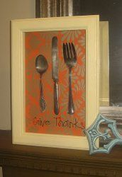 Give Thanks Thanksgiving Shadow Box - tutorial by Blue Cricket Design. Use old silverware and scrapbook paper for this simple Thanksgiving craft.