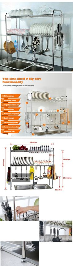 Racks and Holders 46283: Dish Drying Rack Drainer Kitchen Stainless Steel 2-Tier Draining Cutlery Holder -> BUY IT NOW ONLY: $98.99 on eBay!