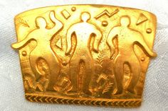 This is a wonderful Large Mod Brooch from JJ in Matte gold tone with 3 dancing people. This would be an AWESOME bracelet , add to a leather strap or flat chain. Measures 2 1/8 x 1 1/2, rolling c clasp. Marked; JJ 1988 Excellent Vintage Condition.  Collect, wear, Statement!  Please convo me with Questions. Thanks for looking! http://www.etsy.com/shop/JewlsinBloom/policy  for more great vintage jewelry http://www.etsy.com/shop/JewlsinBloom