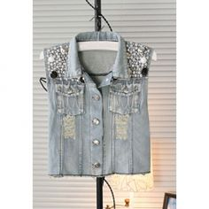 $11.01 Bead Sequin Embellished Single-Breasted Column Women's Jeans Retro Style Waistcoat. Love this Website so awsome!!!!
