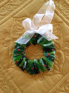 """Soft fused 3"""" Christmas wreath (made from scrap) - by Kim Natwig."""