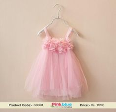 a01b5355a3 Shop Online Gorgeous Girls Floral Dress in Baby Pink in India