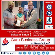 "Recent Achievements ""Canada Visitor Visa"" – Guru Business Group"