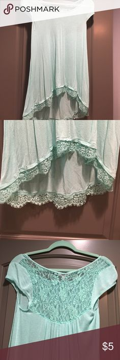 CANDIES | Mint Green Lace Tunic Gently worn and loved. Has a few snags in fabric and hole under right armpit. The lace elastic is shedding somewhat on back. Perfect worn with black leggings!  I am 5 7 and this covers my butt and front perfectly. Candie's Tops Tunics