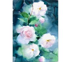 Original Watercolor Painting of White Roses 8 x 11 inches