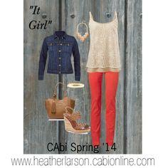 """It Girl"" CAbi Spring '14  It Girl Cami, Lobster Jegging, Norma Jean Jacket.  Www.cabionline.com"