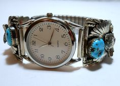 Annie Chapo signed Turquoise Coral Wolf Head Watch by GaryFrase, $129.00