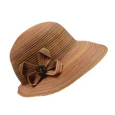 """Wide, 4"""" brim that narrows toward back. Flower accent with button. Sunset blend. Orange ribbon band inside. One size fits most. 100% polyester."""