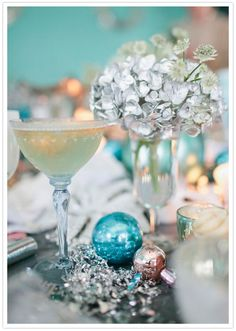 Vintage glassware and silver-sprayed hydrangeas - love these festive details!