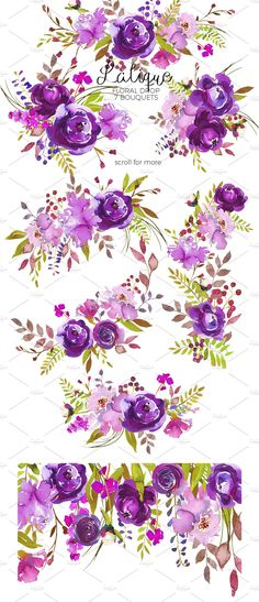 Lalique - Purple Watercolor Flowers. by whiteheartdesign on @creativemarket