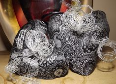 Black Silver Brocade Heart Christmas Ornaments Set 2 Uptown Chic. .