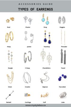 Types of Earrings Dress Design Sketches, Fashion Design Sketches, Hippie Style, Fashion Terminology, Fashion Infographic, Vetements Clothing, Fashion Words, Types Of Earrings, Fashion Dictionary