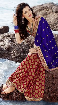 FA2100142 Gleaming Brick Red And Royal Blue Embroidered Saree - IndiaBazaarOnline Shopping Store