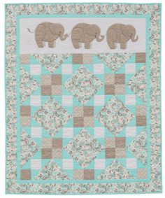 Sewing For Babies Pachyderm Pals baby quilt from the book Animal Parade 2 - Elephant Quilts Pattern, Boys Quilt Patterns, Owl Patterns, Baby Girl Quilts, Girls Quilts, Children's Quilts, Amish Quilts, Baby Applique, Applique Quilts