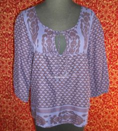AMERICAN EAGLE purple ethnic tribal cotton bohemian tunic blouse SP (T43-02K5G) #AmericanEagle #Tunic #Casual