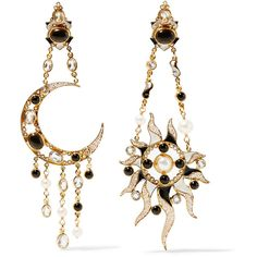 Percossi Papi Diego Sun and Moon gold-plated multi-stone earrings ($2,075) ❤ liked on Polyvore featuring jewelry, earrings, gold, multi stone earrings, handcrafted jewelry, earring jewelry, diego percossi papi and clasp earrings