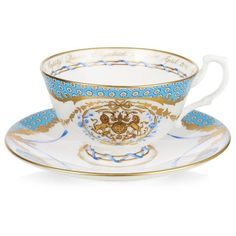 Royal Collection Trust Queen's 90th Commemorative Teacup and Saucer ($78) ❤ liked on Polyvore featuring home, kitchen & dining, drinkware and english tea cups