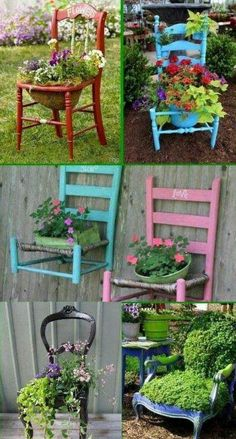 reusing old chairs, garden chairs, painted chairs, chair planter, garden idea