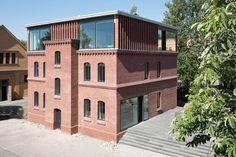 Bundesstiftung Baukultur Potsdam  Heidenreich & Springer Architekten | Glass + Brick Brick Architecture, Classic Architecture, Brick Art, Roof Extension, Glass Brick, Old Bricks, Adaptive Reuse, Listed Building, Old Buildings