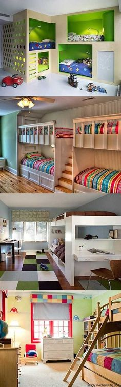 Bunk room ideas @ House Remodel Ideas Amazing bunk bed room ideas for you to use in your home for your children. Bunk Rooms, Awesome Bedrooms, Cool Kids Bedrooms, Kid Bedrooms, Dream Rooms, Kid Beds, Cool Bunk Beds, My New Room, Home Remodeling