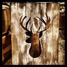 Deer Head Silhouette on Distressed Pallet Wood by TiPsOnDeSiGn #pallet #allthingspallets #deerdecor