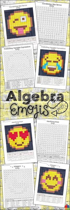 This bundle allows students to practice algebra skills in a creative and fun way! They will have a blast trying to solve the mystery emojis by following the color key. Use the final products as a classroom / hallway display for all to enjoy and admire! Skills include - combining like terms, integers, perfect square roots, identifying slope, and evaluating variable expressions.