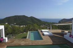 Two Pools. Minimalist hilltop house in Ibiza south-east. Ibiza, Overflow Pool, Luxury Property For Sale, Pool Fashion, Luxury Estate, Wooden Decks, Ideal Home, Terrace, Swimming Pools