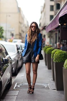 Love the jacket & the heels. Not crazy about this style of leather shorts...