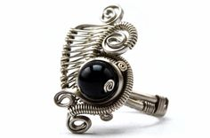 Wire Wrap Cocktail Ring with Black Onyx stone  by HyppieChic, $52.00