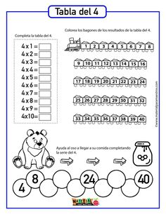 Tabla 4 3rd Grade Math Worksheets, Multiplication Worksheets, School Worksheets, 2nd Grade Math, Math Tables, Math School, Cycle 2, Math For Kids, Math Classroom